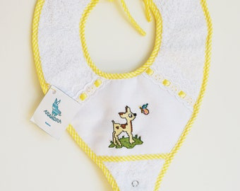 Baby Pacifier Bib, Bambi, Embroidered baby bib pacifier, Personalized Baby Pacifier, Embroidered baby bib, Bambi baby pacifier bib.