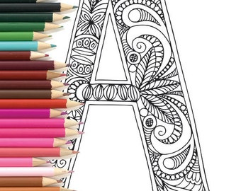 "Adult Colouring Page Alphabet Letter ""A"""