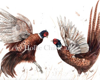 Fighting pheasants Limited edition print