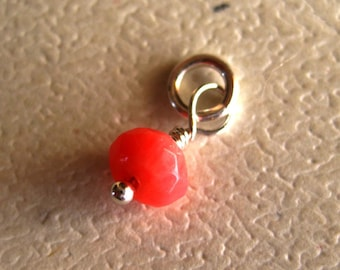 Faceted  Coral Dangle Charm