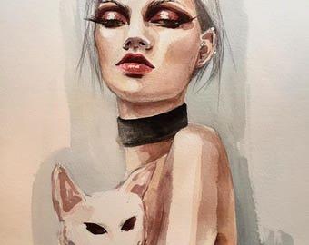 1999 Original  Watercolor Fashion Illustration Painting