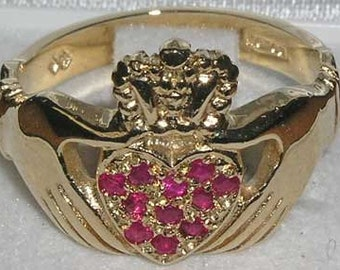 Solid 9K Yellow Gold Natural Ruby Cluster Heart Claddagh Ring, Crown Ring, Unique Engagement Ring, Wedding Ring - Customize: 14k,18k