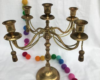 Five Point Brass Candelabra with tassels