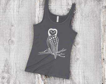 White Heart Owl Women's Jersey Tank Top - Next Level, Owl Lover Gift