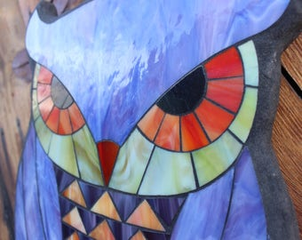 Stained Glass Mosaic - Owl Design - Outdoor or Indoor art - ON SALE!
