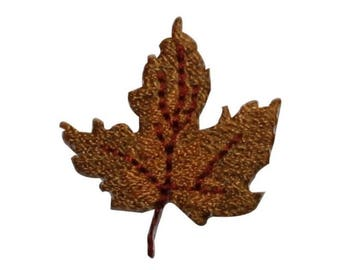 ID 7151 Brown Maple Leaf Patch Autumn Fall Tree Embroidered Iron On Applique