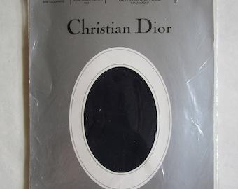 Vintage Christian DIOR 80s Stockings 8.5 M Ultra Sheer Nylon Diorette Navy-Marine Sandalfoot Garter Hoisery in Package