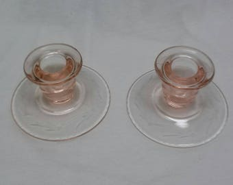 Vintage Etched Pink Candle holders