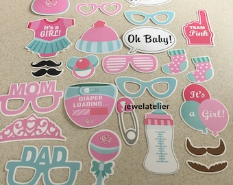 its a girl Photo Booth Props 26 Piece Set - Party Photo Props - baby girl  Party Favor,  baby girl props , props