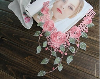 Pink Flower Lace Collar Embroidary Lace  Applique