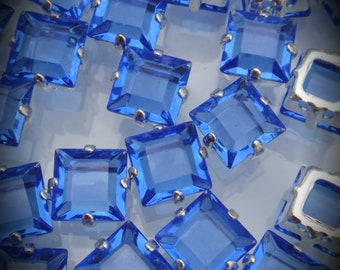 4400/2 8mm Genuine Swarovski Crystals Sapphire Square Sew On Rhinestones Silver Plated Beads