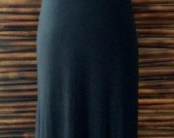 Black Long Tank Dress with Lower Back Gathering
