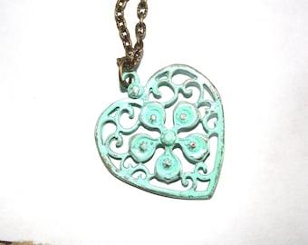 Turquoise Heart Necklace, Antique Bronze Necklace, Heart Necklace, Rustic Necklace, Patina
