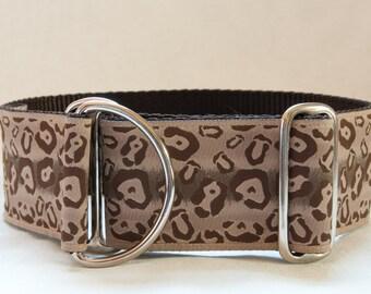 2 Inch Limited Slip Hound Collar in Brown Cheetah Design