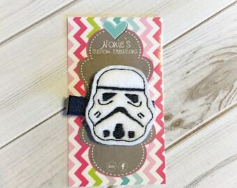 Storm Trooper Hair Clip - Storm Trooper Barrette - Star Wars Inspired Hair Clip - Sci Fi Hair clip - Geeky Hair Clip