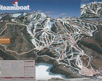Steamboat Colorado Ski Map Ceramic Tile Coasters (Wedding, Graduation, Birthday, Bridal, Housewarming)