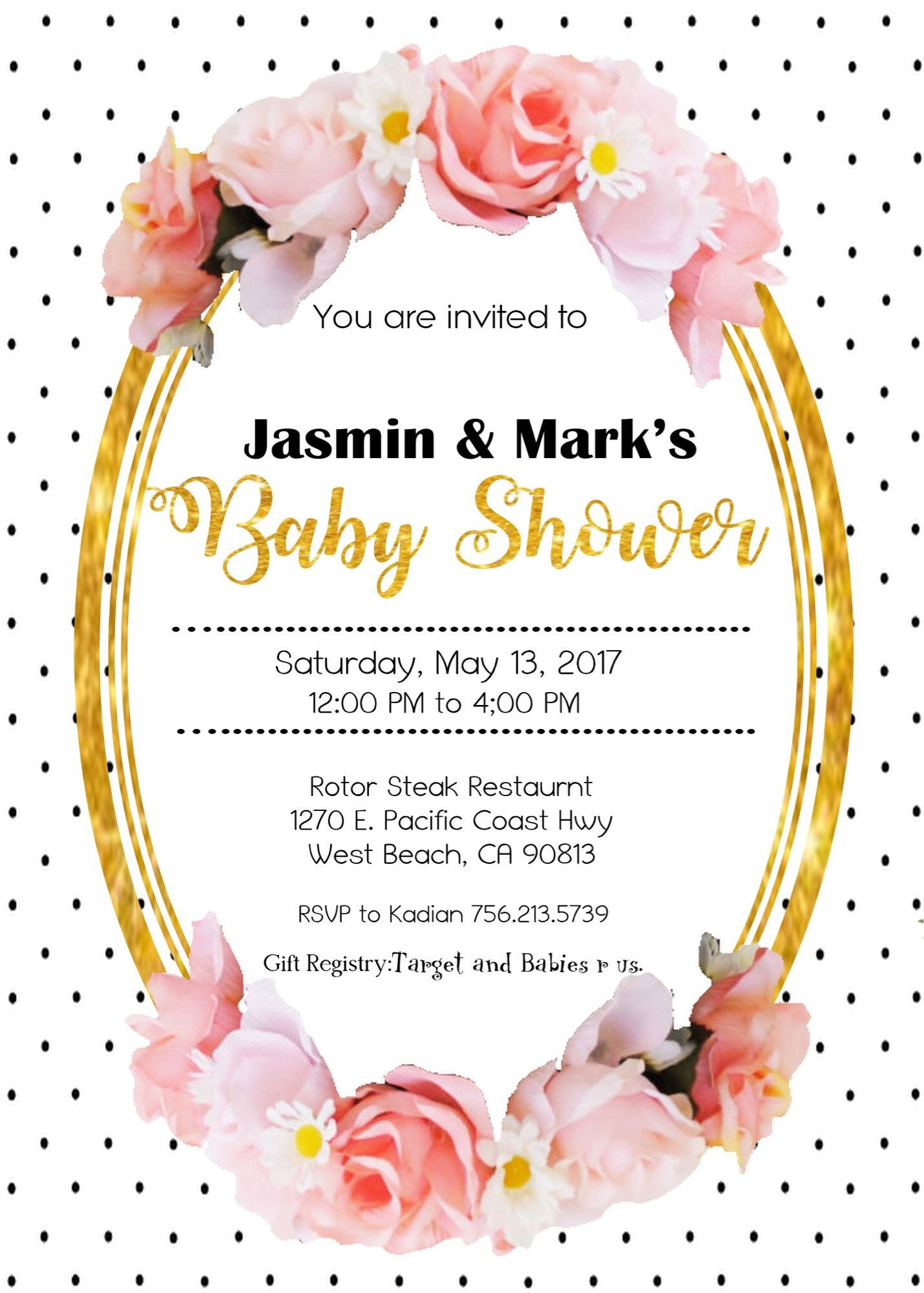 Black and white polka dot, pink floral, Invitation, Baby Shower ...