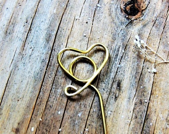 Heart Wire PLACE CARD HOLDERS Table Number Holder diy Stems Plant Picks Gold Silver Spiral Photo Flat Card Sign Gold Silver Tall Long Copper
