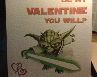 Handmade Star Wars Yoda Valentine's Card - Be My Valentine You Will? Style 2.
