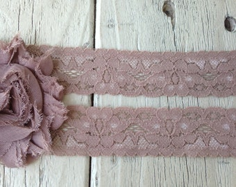 Stretch Lace-TAUPE-1 inch -5  yards for 2.99