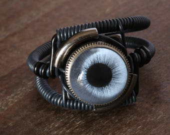 Steampunk Ring, blue Eye, Black, beholder ring