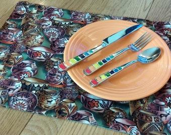 Southwest Fabric Placemats, Southwest Pottery, Set of 4, Arizona Placemats, Handmade Placemats