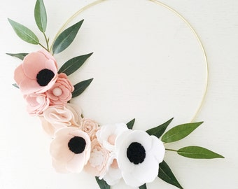 Wreath || Pink Ombre Wreath || Wreaths || Flower Wreath || Spring Wreath || Felt Flower Wreath || Modern Wreath || Wedding Wreath || Decor