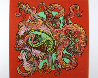 Snorkeling Skull & Octopus—giclée print