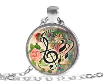 Music Necklace Music Jewelry Music Note Necklace Music Teacher Gift Music Note Necklace Music Keychain Musician Music Lover Gift