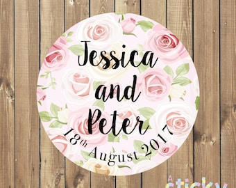Personalized Wedding Stickers, Wedding Labels, Wedding Favor Stickers, Wedding Favour Labels, Floral Wedding Stickers, Wedding Favour, Roses