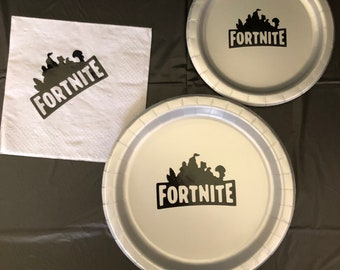 Fortnite Battle Royale Birthday Party Plate Napkins cake plates Birthday  Party Pack decor tableware boy Birthday Gaming gamer