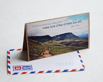 Mountain Greeting Card - Iceland Travel Photography, Brown Card with Air Mail Envelope, Blank Card, Nature Photography, John Muir Quote