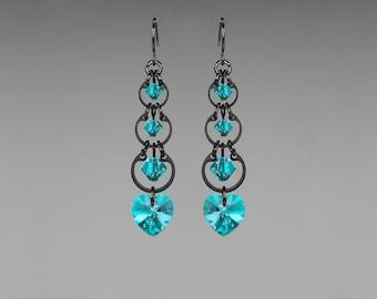 Aqua Swarovski Crystal Earrings, Blue Zircon Swarovski, Wedding Jewelry, Drop Earrings, Crystal Hearts,  Youniquely Chic, Zircon Progression