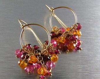 15 Off Rhodolite Garnet, Mandarin Garnet and Pink Topaz  Gold Filled Cluster Hoop  Earrings