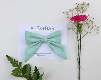 Mint Sailor Bow | Baby Girl Accessories | Girls Hair Accessories | Bow Headband | Bow Clip