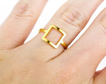 Gold Square Ring, Square Gold Ring, Tiny Square Ring, Square Band, Gold Geometric Ring, Geometric Ring, Minimalist Ring, Dainty Gold Ring