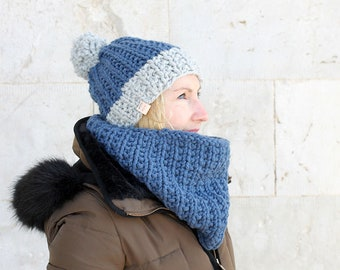 Hat and cowl set /Hat and scarf set / Winter hat / Cowl / Chunky knit cowl / Chunky knit hat / Blue