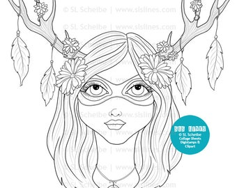 Digital stamp nature goddess, girl with antlers flowers feathers, nature digistamp coloring
