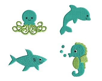 Mini Sea Friends Machine Embroidery Design Set-INSTANT DOWNLOAD