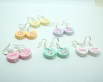 Conversation Heart Valentine Dangle Earrings - You Pick Color and Sayings