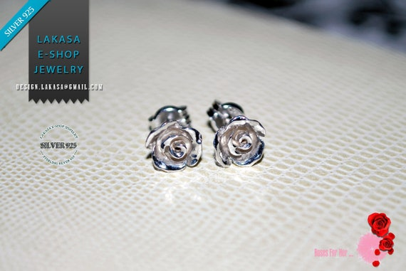 Roses for her Stud Earrings Sterling Silver 925 white Gold-plated Handmade Jewelry Valentine Mother Day Gift Birthday Anniversary Woman Love