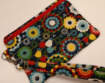 Quilted Wristlet - Phone Case - Wallet - Floral - Phone Purse
