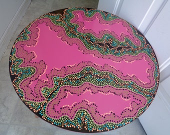 Hand Painted FURNITURE / Polka Dots / Dot Painted NEW Side Table / Home decor / Pointillism Art