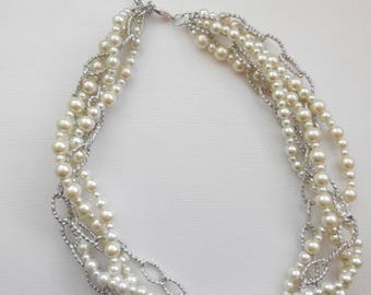 Ivory pearlsilver chain chunky twisted statement necklace