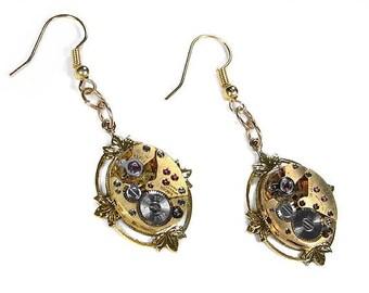 Steampunk Jewelry Earrings Vintage GOLD Ruby Jewel Watch Earrings Lotus Leaf Wedding Girlfriend Earrings, GORGEOUS - Jewelry by edmdesigns
