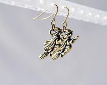 Brass Witch Earrings - Halloween Earrings, Witch Charm, Witch Jewelry, Halloween Jewelry, Witch Jewellery, Costume, Goth