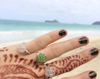 Sea Glass Ring, Beach Wedding Ring, Beach Glass Ring, Gift For Her, Summer Jewelry, Beach Wedding, Beach Jewelry, Ring, Statement Ring