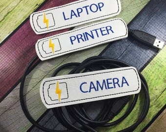 USB Cable label - cord organizer - set of two - desk accessories