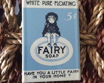 Fairy Soap Vintage Metal Porcelain Enamel Magnet