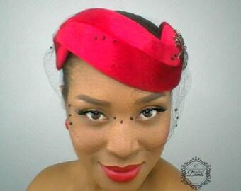 MADE TO ORDER Red Halo Hat, Vintage Inspired Hat, Red velvet Hat, Mad Men Inspired Hat, Wedding Hat, Vintage Veiling, Silk Veil